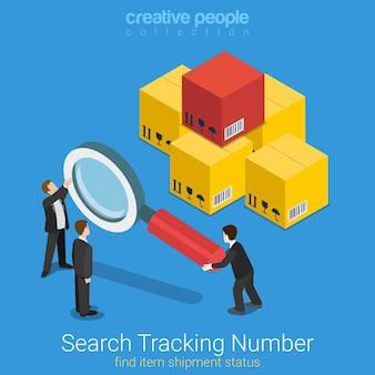 Isométrico plano do número de rastreamento de pesquisa