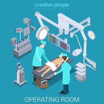 Isométrico plano do processo da sala de operação do hospital