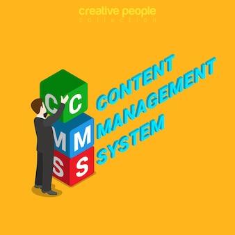Isométrico plano do sistema de gerenciamento de conteúdo cms