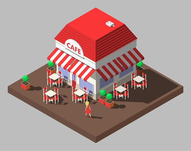 Isométrico restaurante café edifício com mesas e cadeiras.