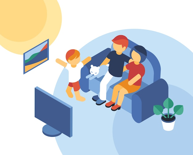 Isométrico tempo em família juntos assistindo tv infográficos