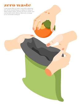 Isométrico zero de desperdício com pessoas colocando laranja em um saco verde reciclável 3d