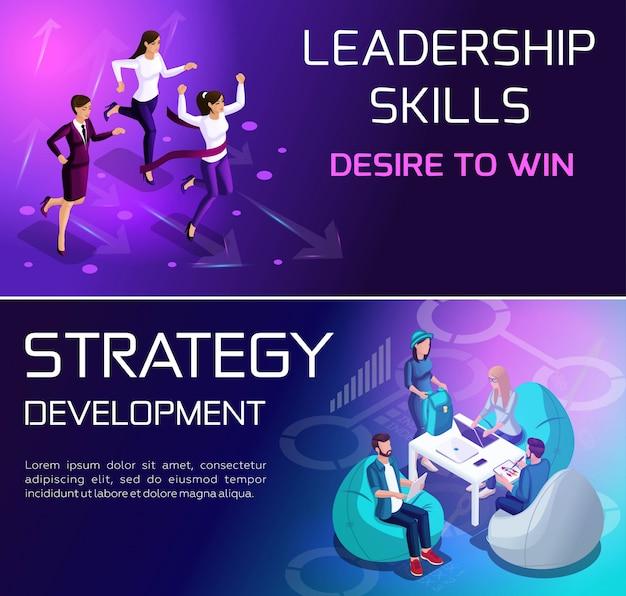 Isométricos conceitos vívidos de situações e estratégias para alcançar objetivos, corrida e crescimento na carreira