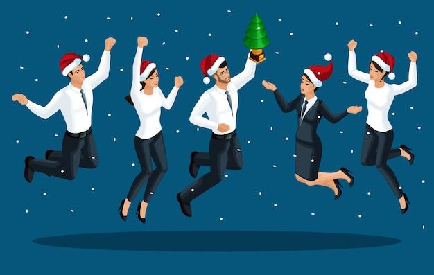 Isométricos de homens e mulheres em roupas de escritório saltar, alegrar-se, feliz, papai noel boné salta comemorando a vitória