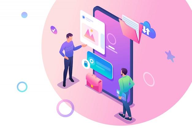 Isométricos jovens em pé perto da tela do telefone móvel, o uso de aplicativos móveis.