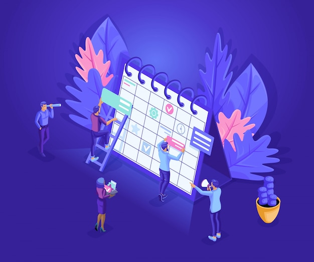 Isometrics pessoas trabalham juntos na indústria da web. personagens de pessoas pequenas fazem uma programação on-line.