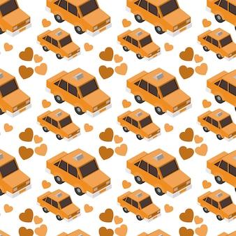 Isometrics táxis e corações de fundo
