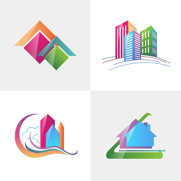 Isotype para imóveis, identidade corporativa de empresa de logotipo