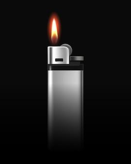 Isqueiro de metal com chama em fundo preto