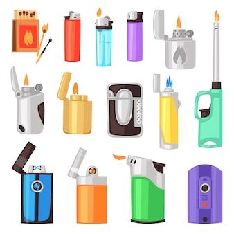 Isqueiro isqueiro com luz de fogo ou chama para queimar conjunto de ilustração de cigarro de equipamento para fumar inflamável isolado no fundo branco