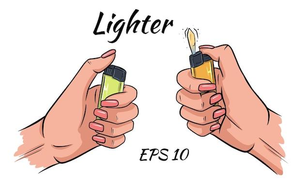 Isqueiro nas mãos de um conjunto. ilustração vetorial no estilo cartoon. o isqueiro está queimando nas mãos. situado em um fundo branco isolado.