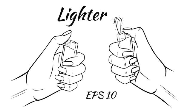 Isqueiro nas mãos. ilustração no estilo sketch.