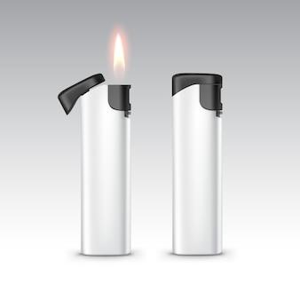 Isqueiros de plástico brancos pretos em branco com chama fechar isolado no fundo branco