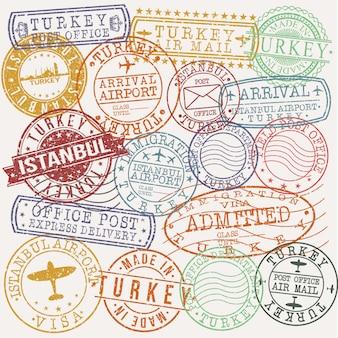 Istambul turquia conjunto de viagens e negócios carimbo desenhos
