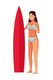 Isyoung menina com mesa de surf
