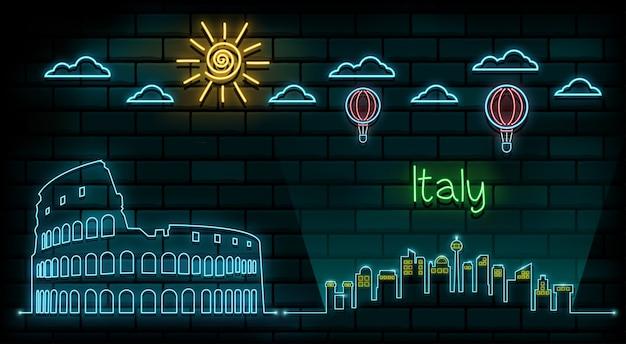 Itália e roma viagens e viagem luz de néon fundo