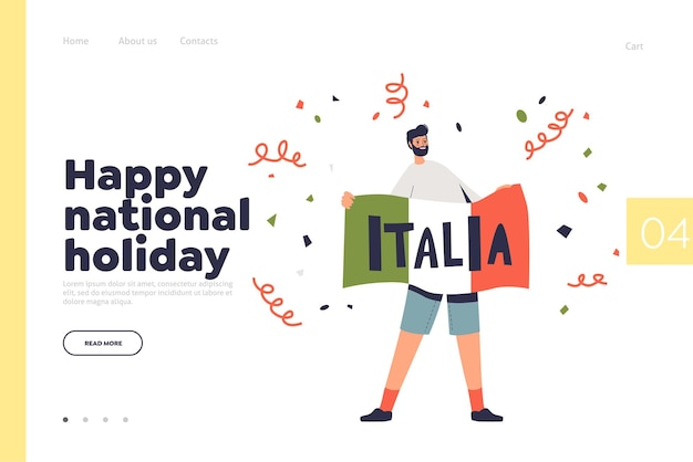 Itália, feliz feriado nacional conceito de página de destino