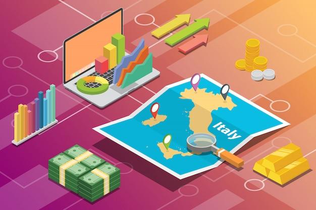 Itália isométrica negócios economia crescimento país Vetor Premium