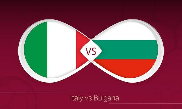 Itália vs bulgária em competição de futebol, grupo c. versus ícone no fundo do futebol.