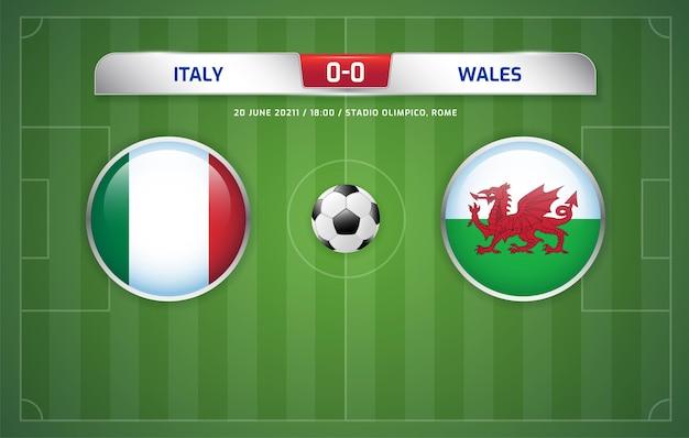 Itália vs país de gales com transmissão do placar do torneio de futebol 2020 grupos a