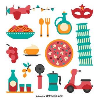 Italian food pacote vector