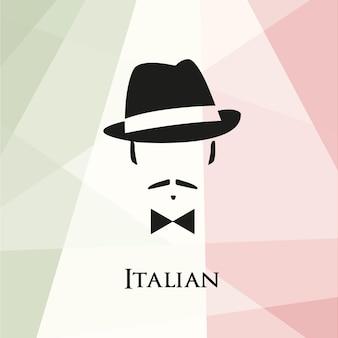 Italiano com bigode e gravata borboleta