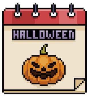 Item de calendário de halloween de pixel art para jogo de 8 bits em fundo branco
