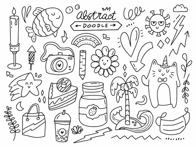 Item de doodle abstrato definido em estilo de linha