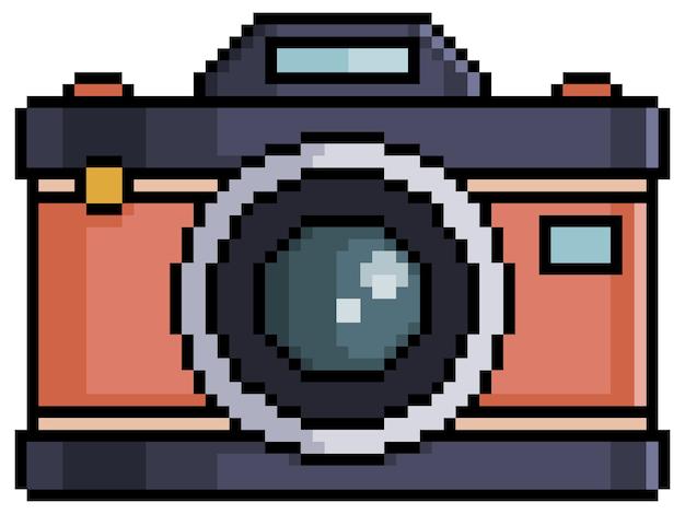 Item de jogo de bits de câmera fotográfica antiga de pixel em fundo branco