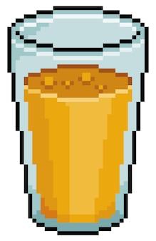 Item de jogo de vidro de suco de pixel art em fundo branco