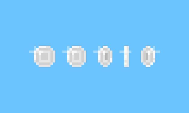 Item de jogo pixel art moeda de prata. ícone de 8 bits.
