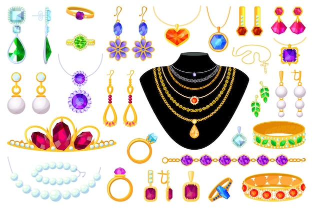Item de joia. ilustração de tiara, colar, miçangas, anel, brincos, pulseira, broche, corrente e pingente. acessórios preciosos em ouro, diamante, pérola e pedras preciosas em fundo branco