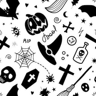 Itens assustadores tradicionais de halloween preto criativo isolados formando padrão