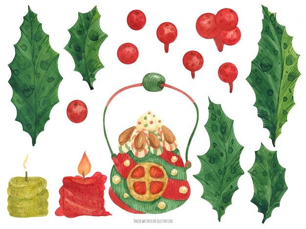 Itens bonitos de natal elf fábrica, velas e holly