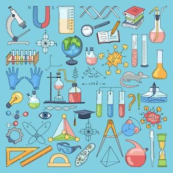 Itens coloridos de biologia científica e química. ilustrações de mão desenhada de vetor
