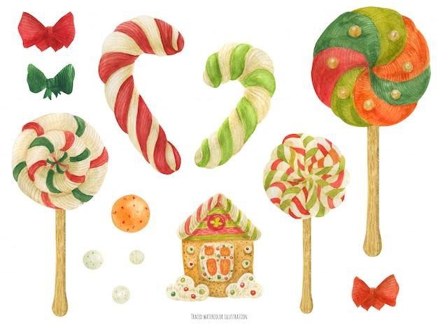 Itens de açúcar bonito de fábrica de duende de natal, aquarela rastreada