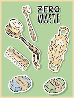 Itens de banho de material natural. produto ecológico e resíduo zero. casa verde e vida livre de plástico