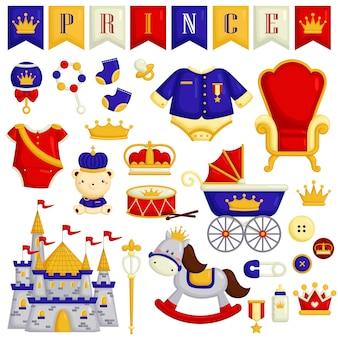 Itens de bebê no tema do príncipe