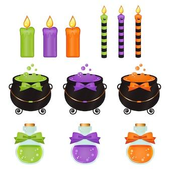 Itens de bruxa fofos de halloween e velas