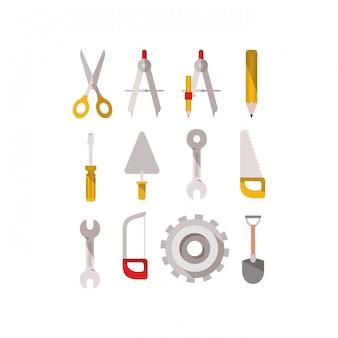 Itens de conjunto de ferramentas de construção