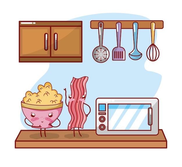 Itens de cozinha dos desenhos animados kawaii dos desenhos animados