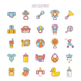 Itens de cuidados com o bebê ou equipamento para bebês e brinquedos
