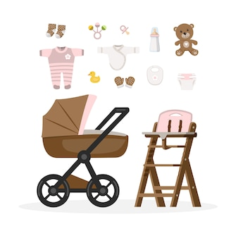 Itens de cuidados de bebê menina.