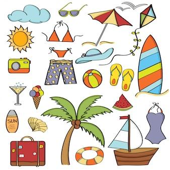 Itens de desenhos animados doodle coleção de férias de verão