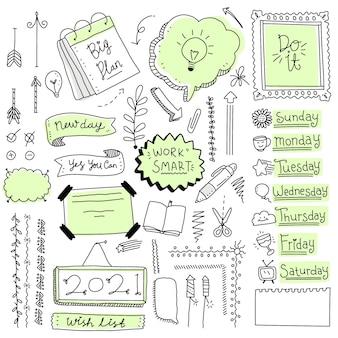 Itens de diário com marcadores desenhados à mão