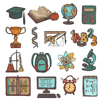 Itens de educação desenhados mão