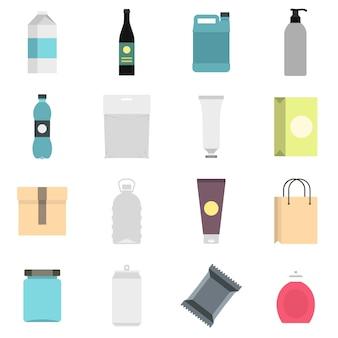 Itens de embalagem definir ícones planas