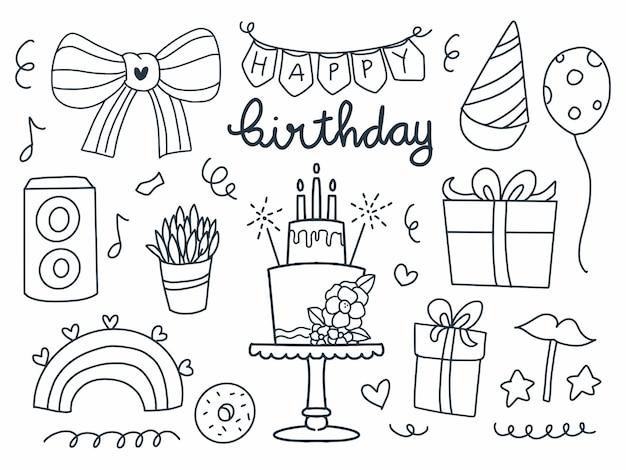 Itens de feliz aniversário definidos em estilo de linha