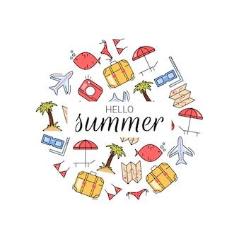 Itens de férias de verão com espreguiçadeira, mapa, avião e câmera em estilo simples
