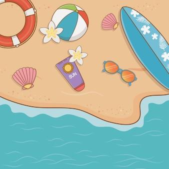 Itens de férias de verão na cena do airview da praia